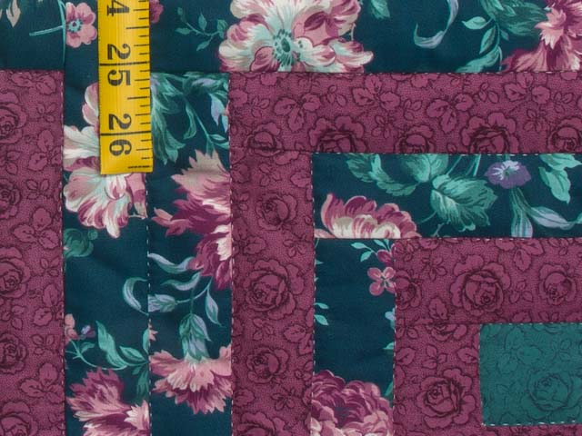Plum Rose and Green Log Cabin Star Quilt Photo 5