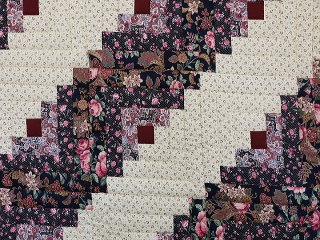Navy Rose and Burgundy Lone Star Log Cabin Quilt Photo 5