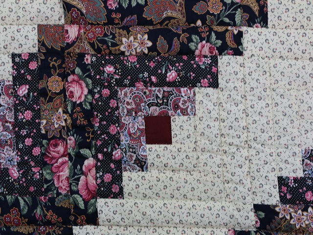 Navy Rose and Burgundy Lone Star Log Cabin Quilt Photo 6