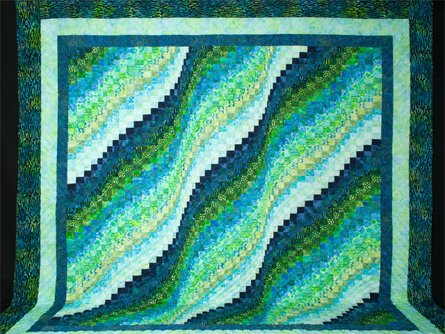 Bargello Wave in Striking Green and Blue Batiks King size bed quilt Photo 2