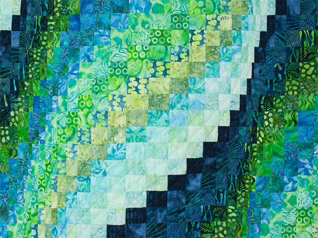Bargello Wave in Striking Green and Blue Batiks King size bed quilt Photo 4
