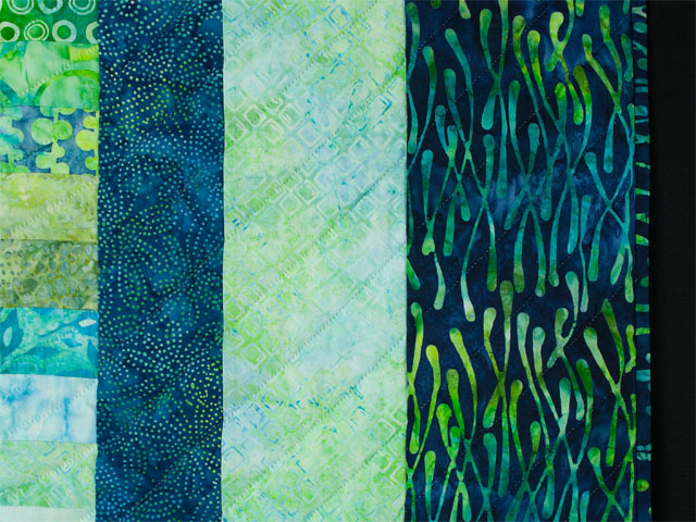 Bargello Wave in Striking Green and Blue Batiks King size bed quilt Photo 5