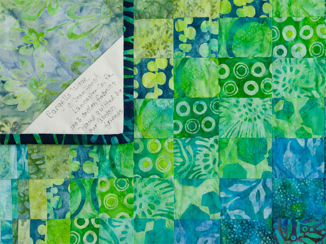 Bargello Wave in Striking Green and Blue Batiks King size bed quilt Photo 6