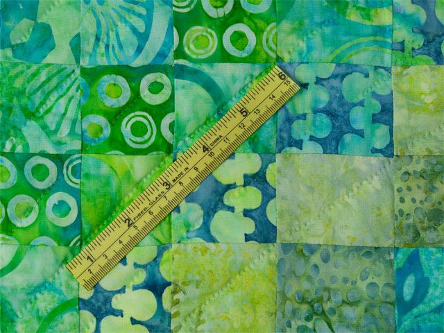 Bargello Wave in Striking Green and Blue Batiks King size bed quilt Photo 8