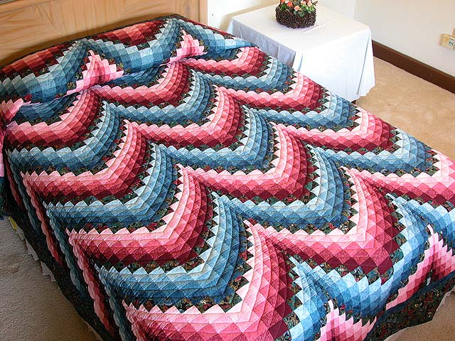 Rose and Blue Bargello Quilt Photo 1