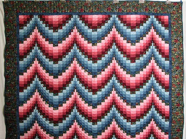 Rose and Blue Bargello Quilt Photo 2