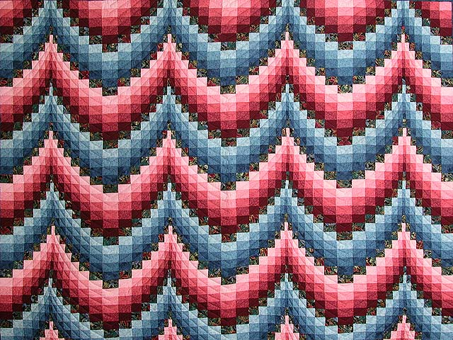 Rose and Blue Bargello Quilt Photo 3
