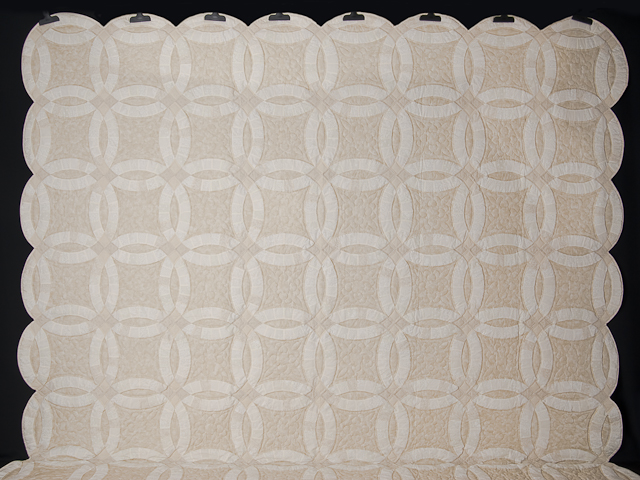 All Neutrals Double Wedding Ring Quilt Queen bed Size Photo 2