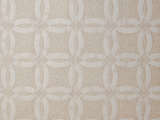 All Neutrals Double Wedding Ring Quilt Queen bed Size Photo 3