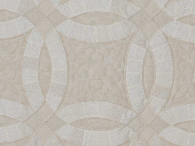 All Neutrals Double Wedding Ring Quilt Queen bed Size Photo 4