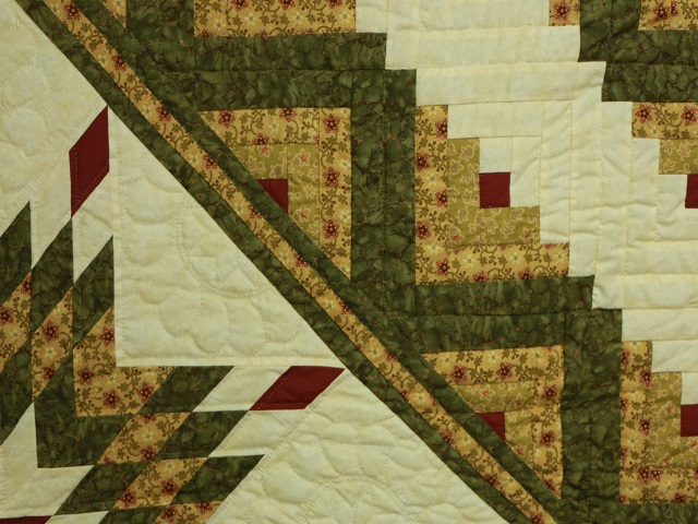 Green Gold and Rusty-Red Lone Star Log Cabin Quilt Photo 4