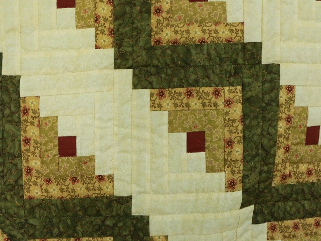 Green Gold and Rusty-Red Lone Star Log Cabin Quilt Photo 5
