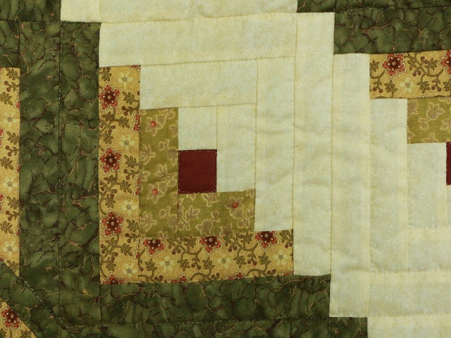 Green Gold and Rusty-Red Lone Star Log Cabin Quilt Photo 6