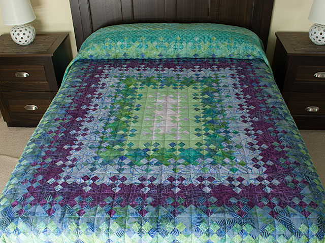 Blooming Nine Patch Queen SIZE  Charming Teals and Purples and colors in between Photo 1