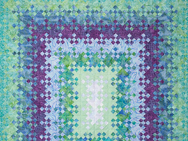 Blooming Nine Patch Queen SIZE  Charming Teals and Purples and colors in between Photo 3