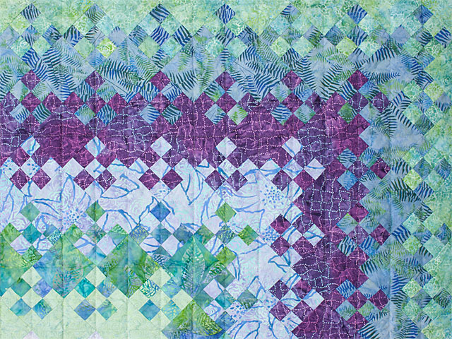 Blooming Nine Patch Queen SIZE  Charming Teals and Purples and colors in between Photo 4