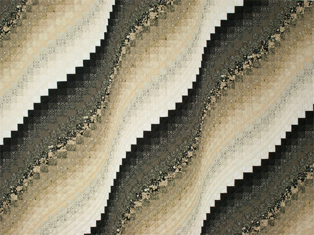 Bargello Wave in Striking Neutrals/tans/and blacks King size bed quilt Photo 3