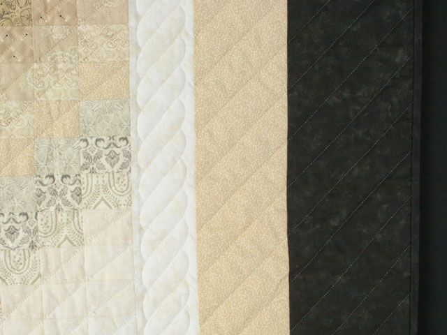 Bargello Wave in Striking Neutrals/tans/and blacks King size bed quilt Photo 5