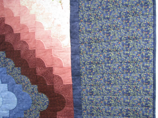 Blue Green and Rose Ocean Wave Quilt Photo 4