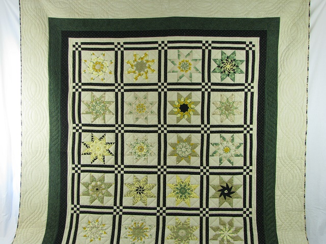 Black and Green Stack and Whack Stars Quilt Photo 2