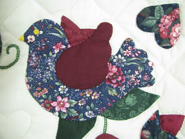 Burgundy Green Applique Sampler Quilt Photo 5