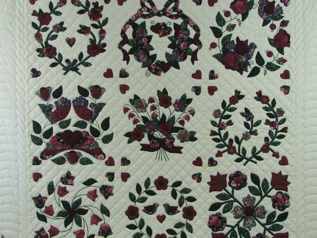 Burgundy Green Applique Sampler Quilt Photo 8