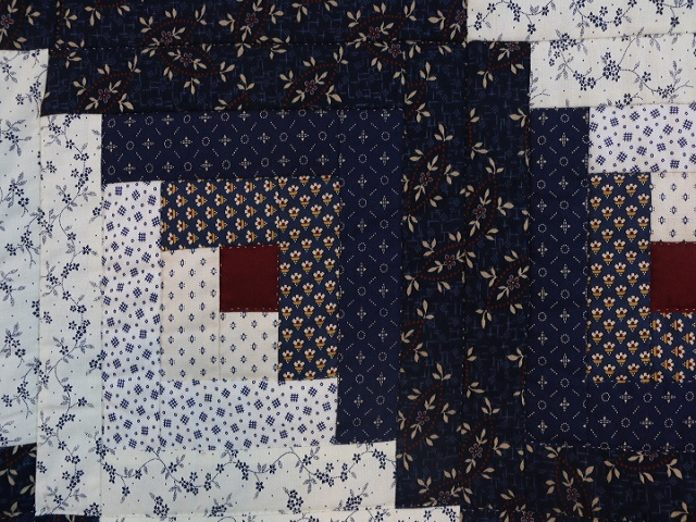 Navy Blue and Burgundy Lone Star Log Cabin Quilt Photo 6