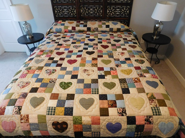 Burgundy Hearts and Nine Patch Quilt Photo 1