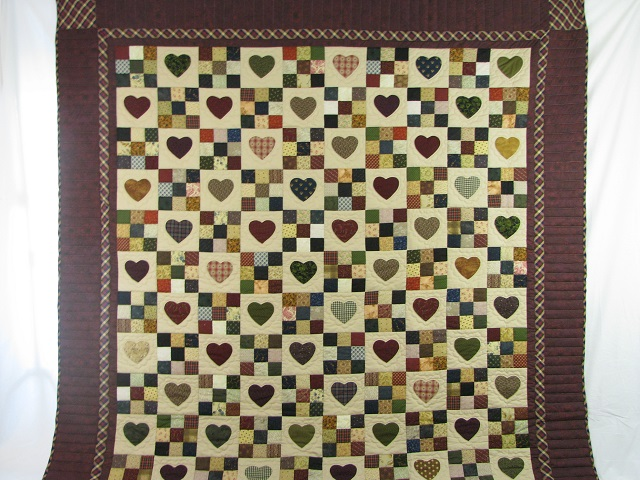 Burgundy Hearts and Nine Patch Quilt Photo 2