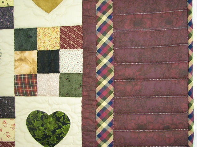 Burgundy Hearts and Nine Patch Quilt Photo 4