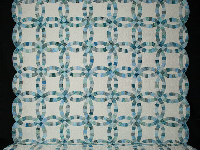 Soft Aqua and Teals in Double Wedding Ring Quilt Queen bed Size Photo 2