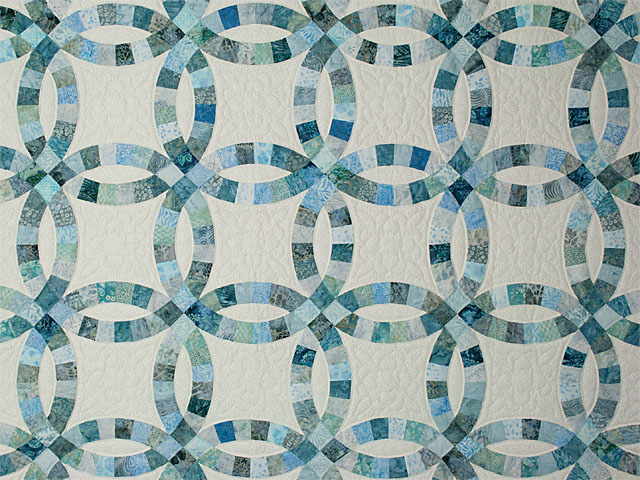 Soft Aqua and Teals in Double Wedding Ring Quilt Queen bed Size Photo 3