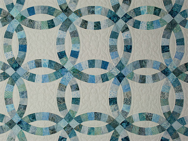 Soft Aqua and Teals in Double Wedding Ring Quilt Queen bed Size Photo 4