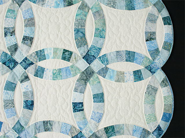 Soft Aqua and Teals in Double Wedding Ring Quilt Queen bed Size Photo 5