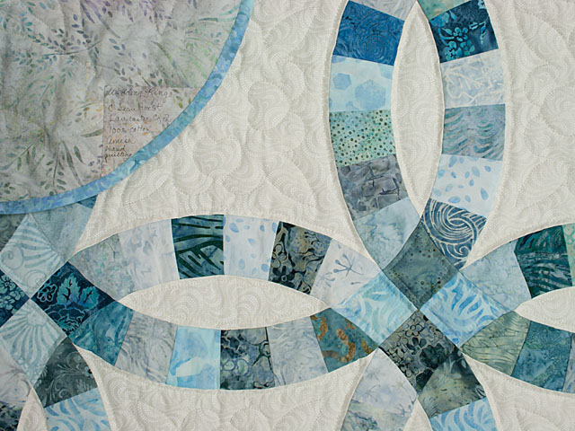 Soft Aqua and Teals in Double Wedding Ring Quilt Queen bed Size Photo 6