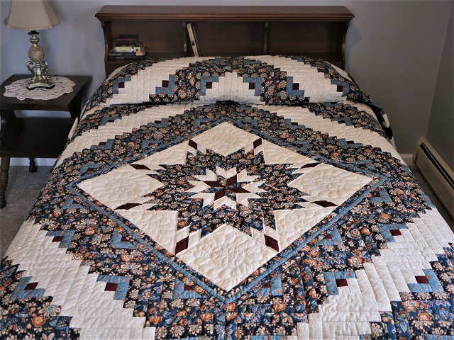 Blue Navy and Burgundy Lone Star Log Cabin Quilt Photo 1