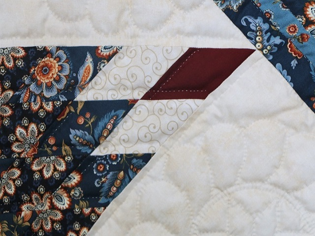 Blue Navy and Burgundy Lone Star Log Cabin Quilt Photo 4
