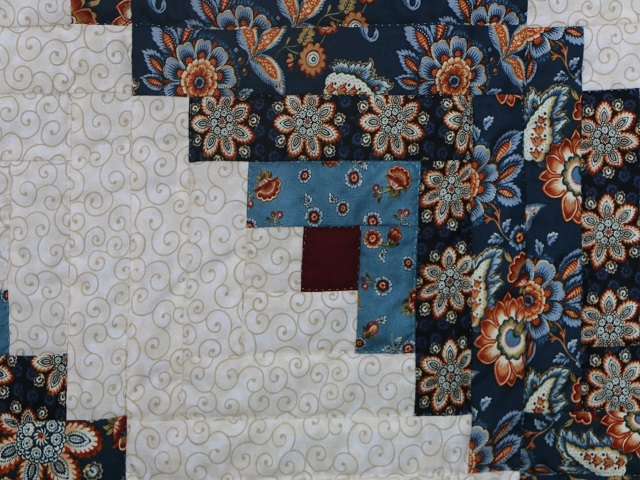 Blue Navy and Burgundy Lone Star Log Cabin Quilt Photo 6