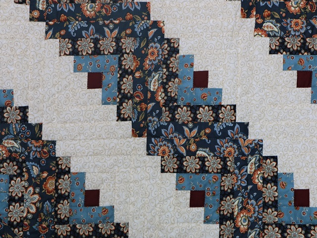 Blue Navy and Burgundy Lone Star Log Cabin Quilt Photo 7