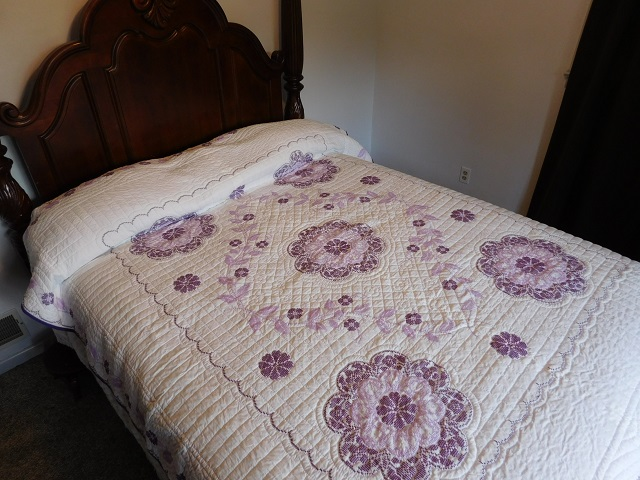 Lavender Cross Stitch Floral Quilt Photo 1