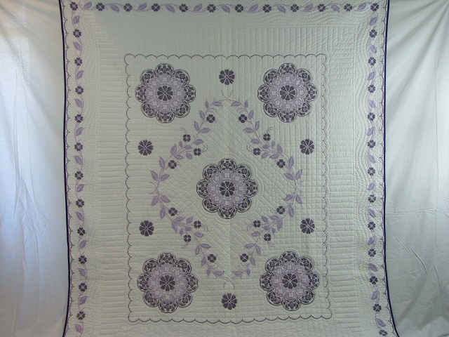 Lavender Cross Stitch Floral Quilt Photo 2