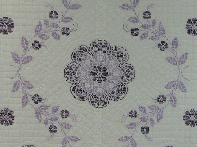 Lavender Cross Stitch Floral Quilt Photo 3