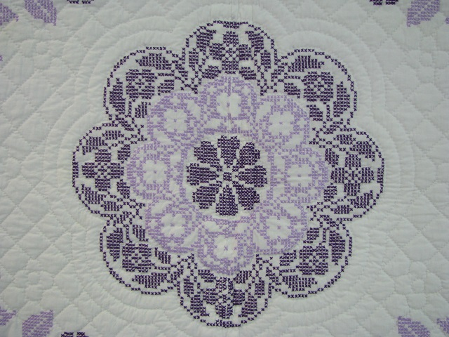 Lavender Cross Stitch Floral Quilt Photo 5
