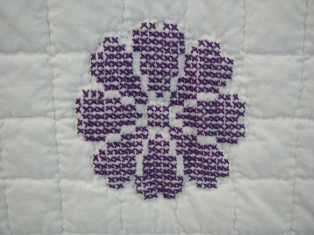 Lavender Cross Stitch Floral Quilt Photo 6