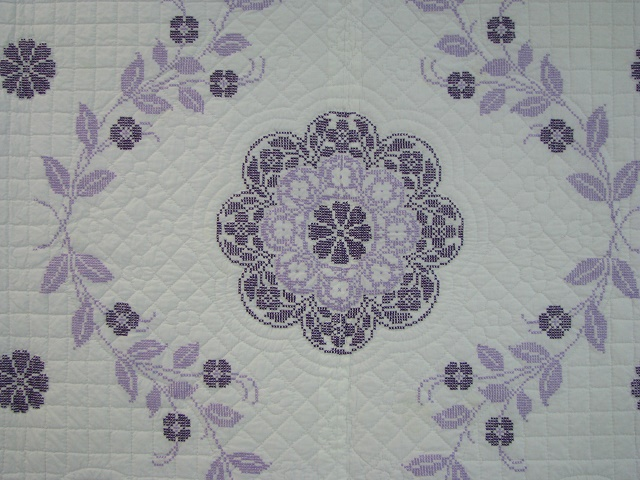 Lavender Cross Stitch Floral Quilt Photo 8