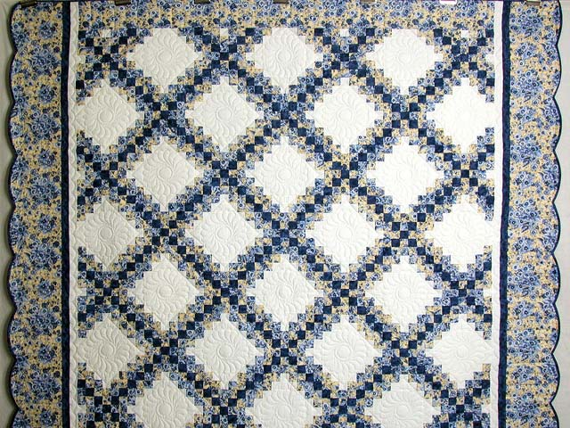 Blue and Yellow Irish Chain Quilt Photo 2