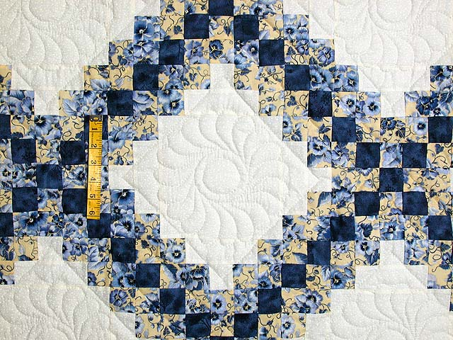 Blue and Yellow Irish Chain Quilt Photo 4