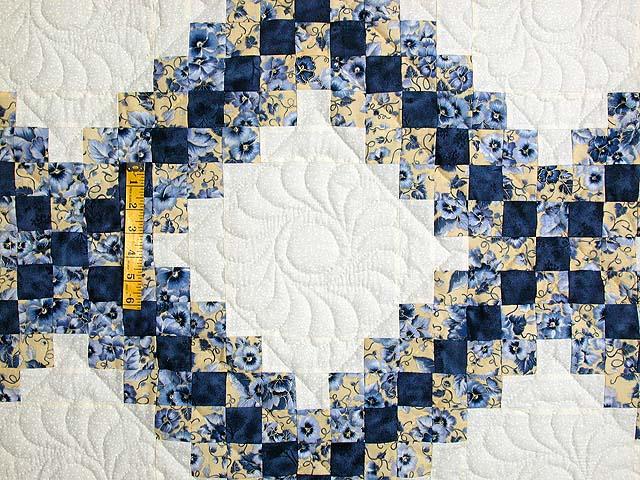 Blue and Yellow Irish Chain Quilt Photo 4