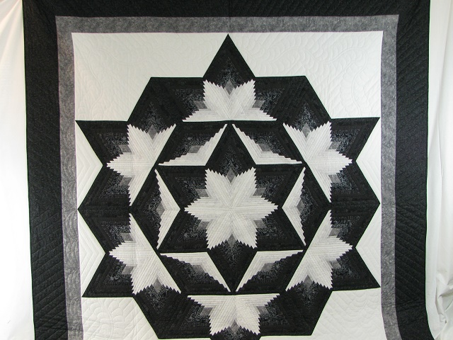 Black and White Diamond Star Log Cabin Quilt Photo 2