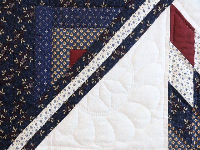 Navy Blue and Burgundy Lone Star Log Cabin Quilt Photo 5